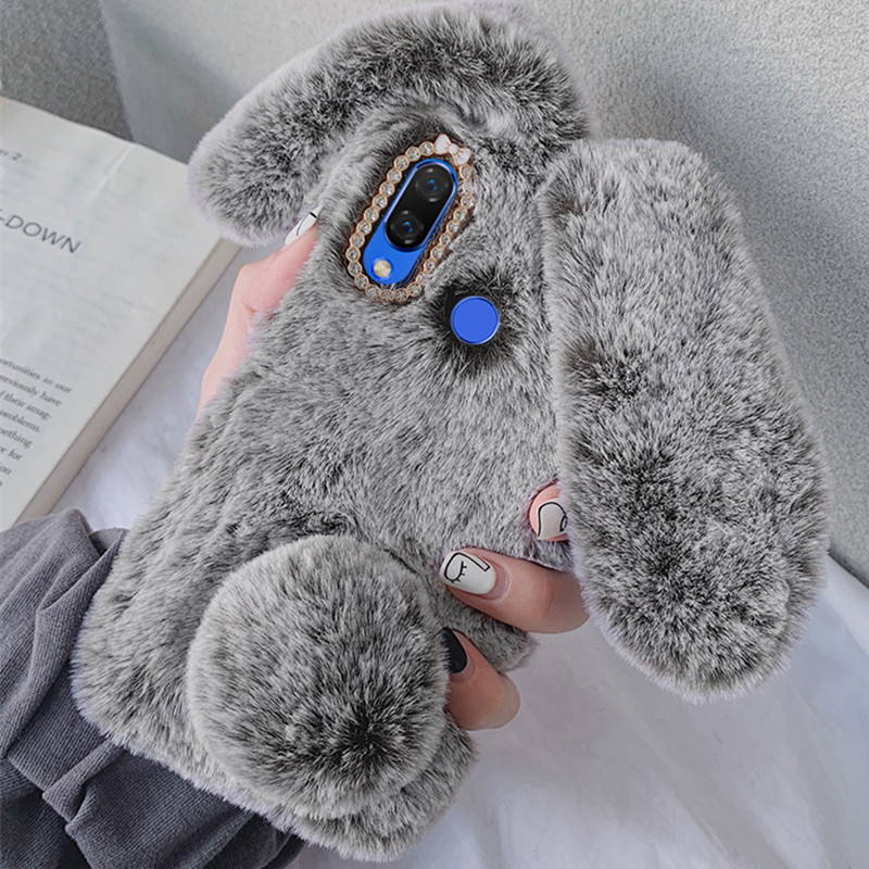 Fluffy Rabbit Silicone Bunny Plush Phone case For Huawei P20 lite E P40 P30 Pro Mate 10 lite honor 20 S 7A 8A Y6 Y5 2018 Y7 2019(China)