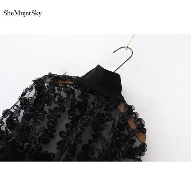 SheMujerSky Women Sexy Chiffon Blouse Autumn Long Sleeve Turtleneck Ruffles Tops 2019 Fashion Shirts Womens 4