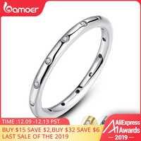 BAMOER 2 colores plata de ley 925 gotitas apilable anillo clásico para mujer joyería de boda regalo de San Valentín PA7132
