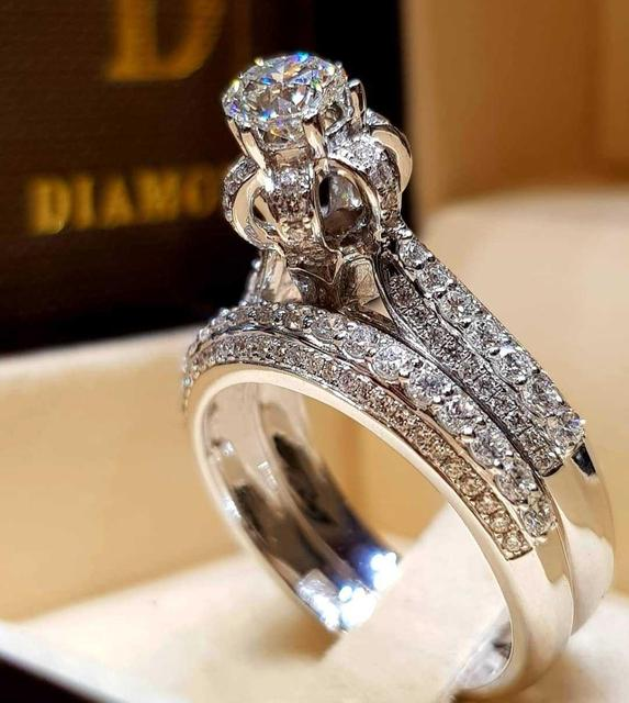 Elegant Wedding Ring Set For Woman Cubic Zirconia CZ Charm Bridal Engagement Party Finger Ring Jewelry 2Pcs/Set