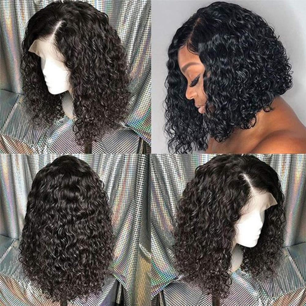 Short 4x4 Silk Base Full Lace Human Hair Wigs Pre Plucked Hairline With Baby Hair Brazilian Curly  Silk Top Wigs Remy Hair