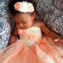 Cute Baby Crochet Flower Tutu Dress Girls 1Layer Tulle