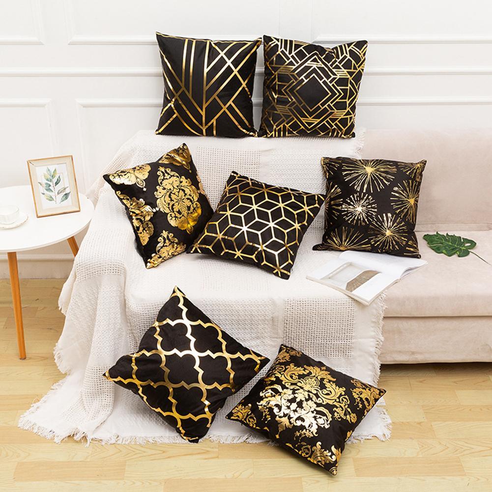 45cm X 45cm Bronzing Leaf Diamond Geometric Pattern Pillow Cushion Home Decor Soft Washable Pillow Short Plush Cushion
