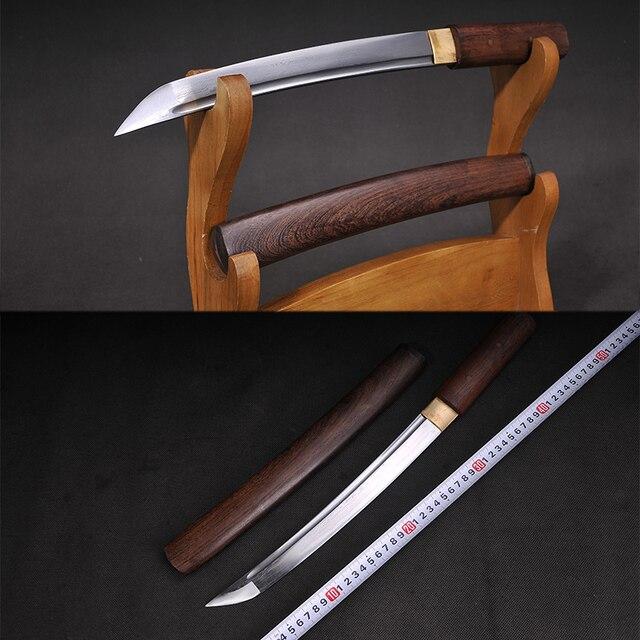 Tanto lame en acier pliée | Petite épée, gaine en bois de rose, couteau à lettres ninja