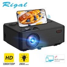Rigal 미니 프로젝터 RD813 1280x 720PLED WiFi 멀티 스크린 프로젝터 3D 비머 지원 HD 1080P 휴대용 홈 TV 극장 시네마