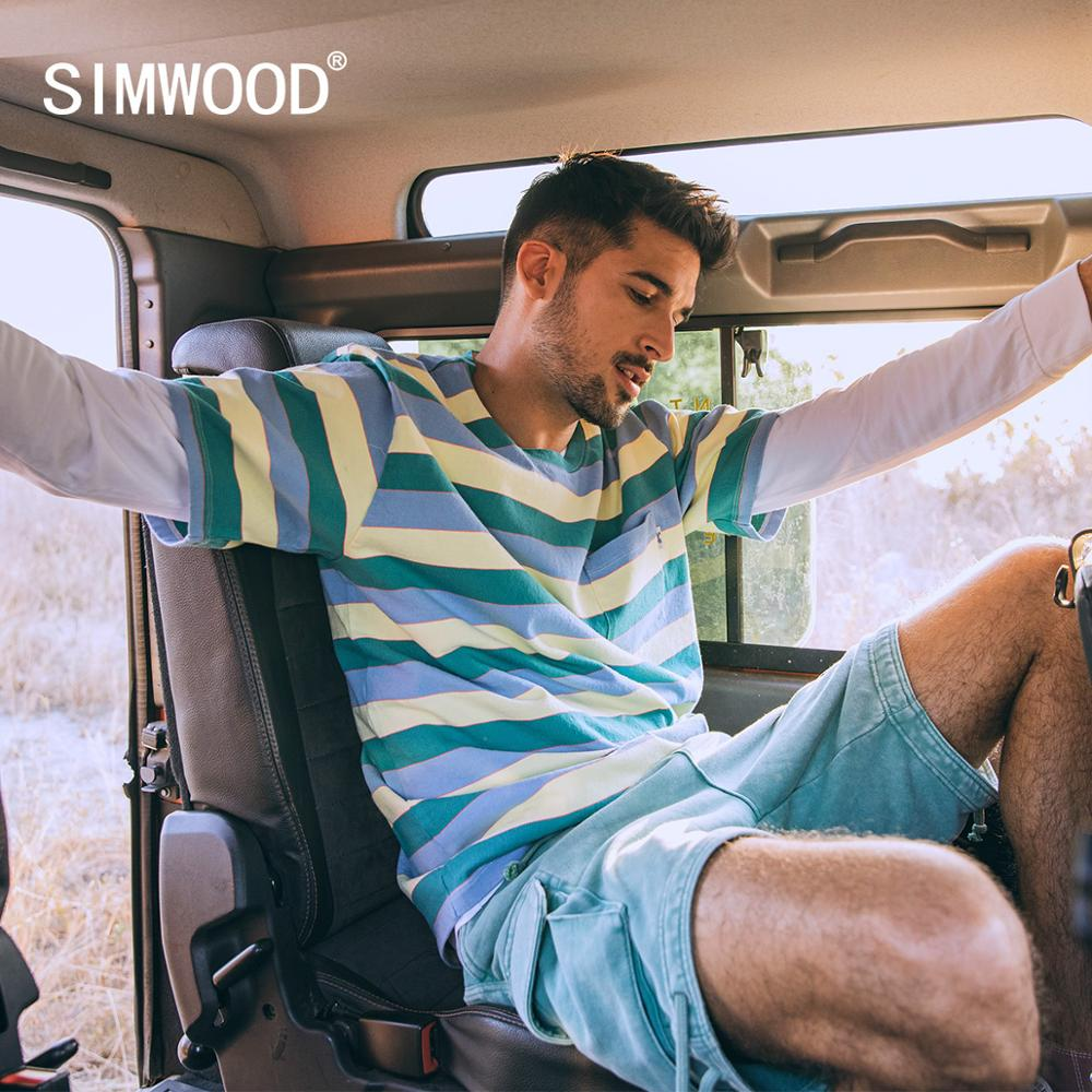 SIMWOOD 2020 Summer New Colorful Striped T-shirt Men Fashion 100% Cotton Breton Top Plus Size High Quality T Shirt SJ170300