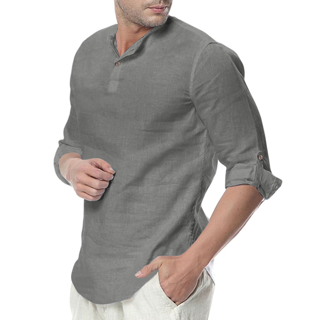 Men's Baggy Cotton Blend Solid Color Three Quarter Yoga Tops Blouses Dropshipping Low Price Discount Woman Man Style