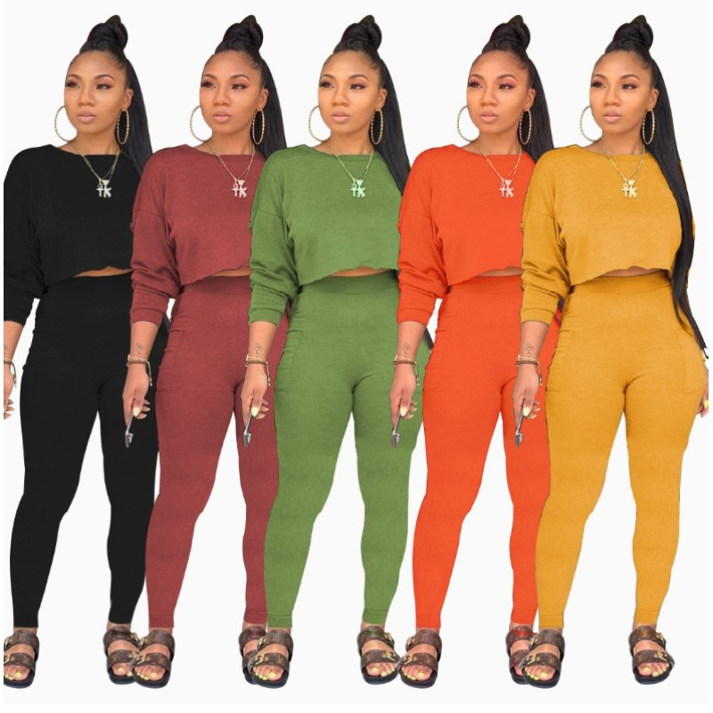 2020 Autumn And Winter New Fashion Women's Round Neck Long Sleeve Sweater Pocket Pants Set Solid Color Two-piece
