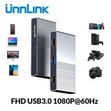 Unnlink USB3.0 משחק UVC כרטיס לכידת וידאו לכידת 1080 @ 60Hz שיא הזרמה עבור מצלמה מצלמת מחשב PS3 PS4 טלוויזיה xbox מתג