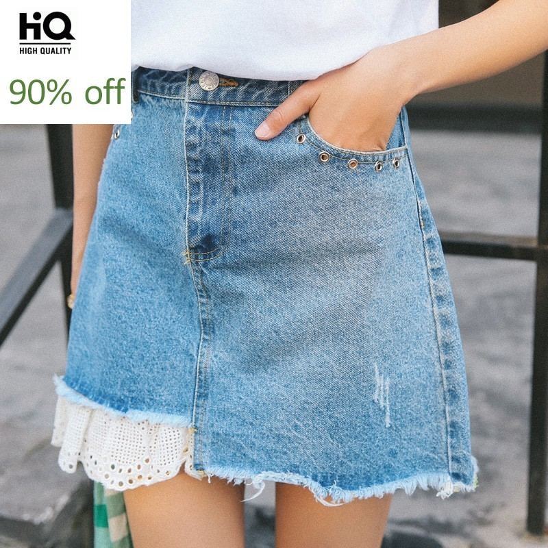 Preppy Style Sweet Lace Hollow Out Denim Shorts Skirts Womens Patchwork Rivet Zipper Short Femme Fashion Casual Shorts For Girls