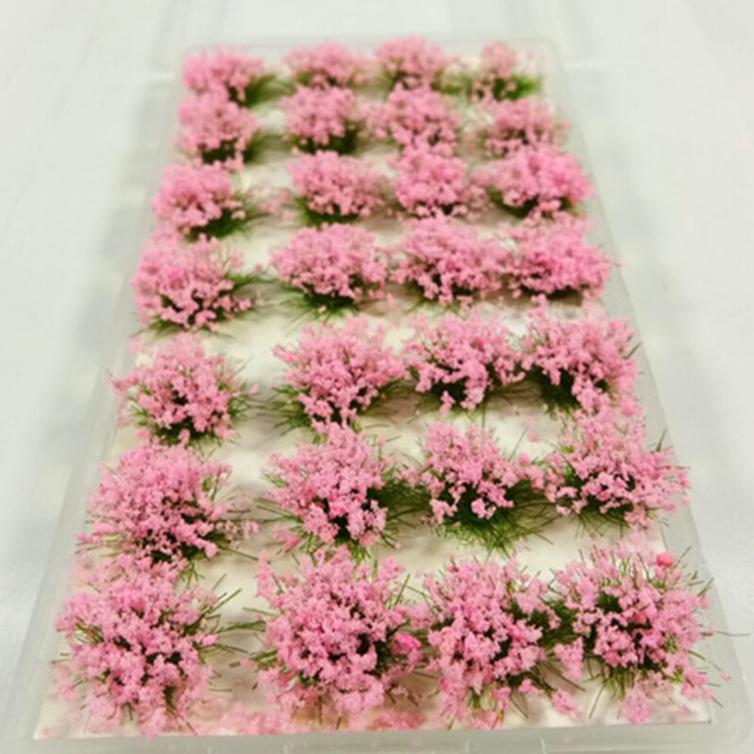 28Pcs Simulation Flower Cluster Flowers Scene Model For 1:35/1:48/1:72/1:87 Scale Sand Table - Green Leaves + Pink Flowers