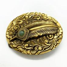 Pure Copper Belt Buckle Feather Inlaid Fade Western Cowboy Shiny Vintage Antique