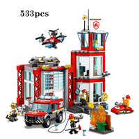 New City Series Toys Bricks Fire Station Compatible With Lepining City Building Blocks Figure For Children Christmas Gift