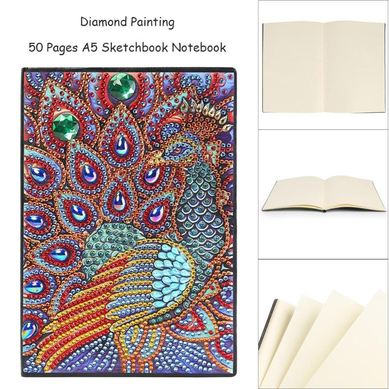 DIY Owl Peafowl Printed Special Shaped Diamond Painting 50 Pages Sketchbook A5 Notebook Drawing Book 20 Styles Hand Crafts Gifts