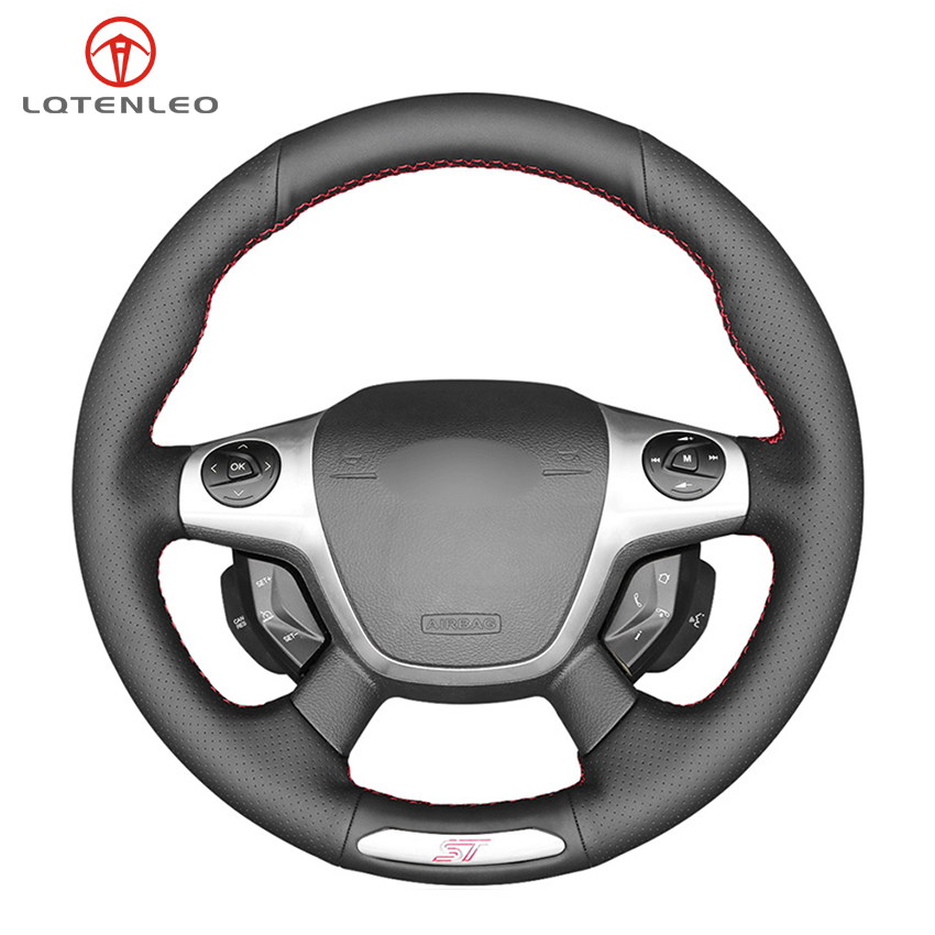 LQTENLEO Black Artificial Leather DIY Hand-stitched Car Steering Wheel Cover For Ford Focus 3 ST 2012-2014