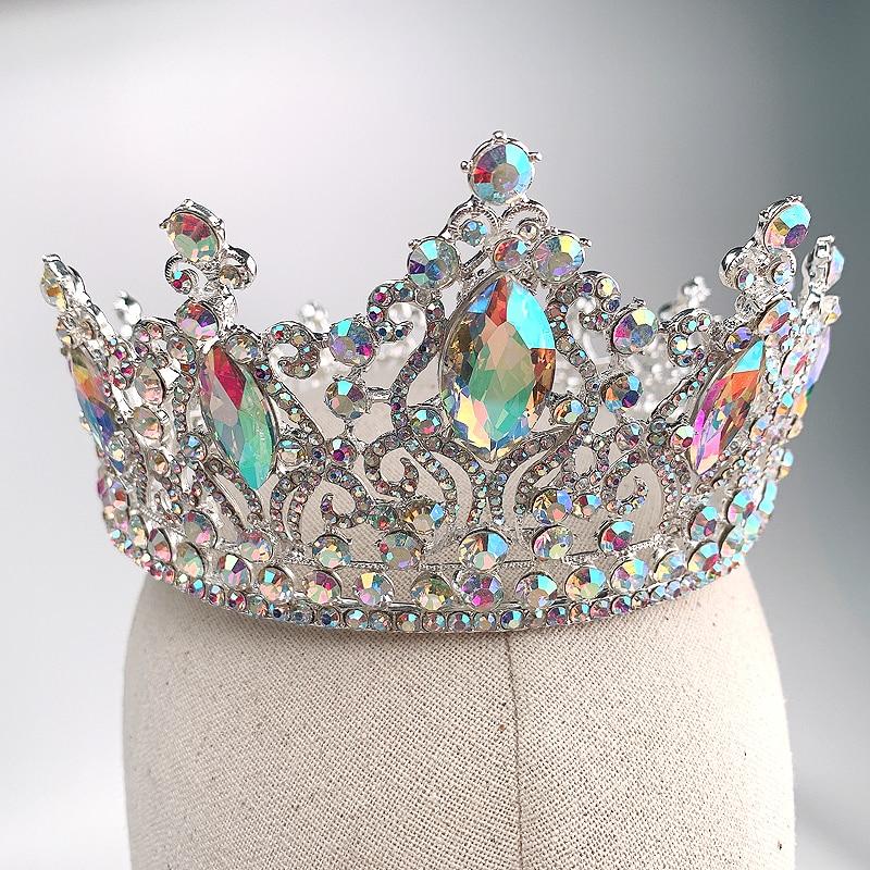 Fashion Silver AB Tiara Crowns Crystal Queen Princess Diadem Bridal Round Crown Hair Jewelry For Wedding Women Hair Accessories