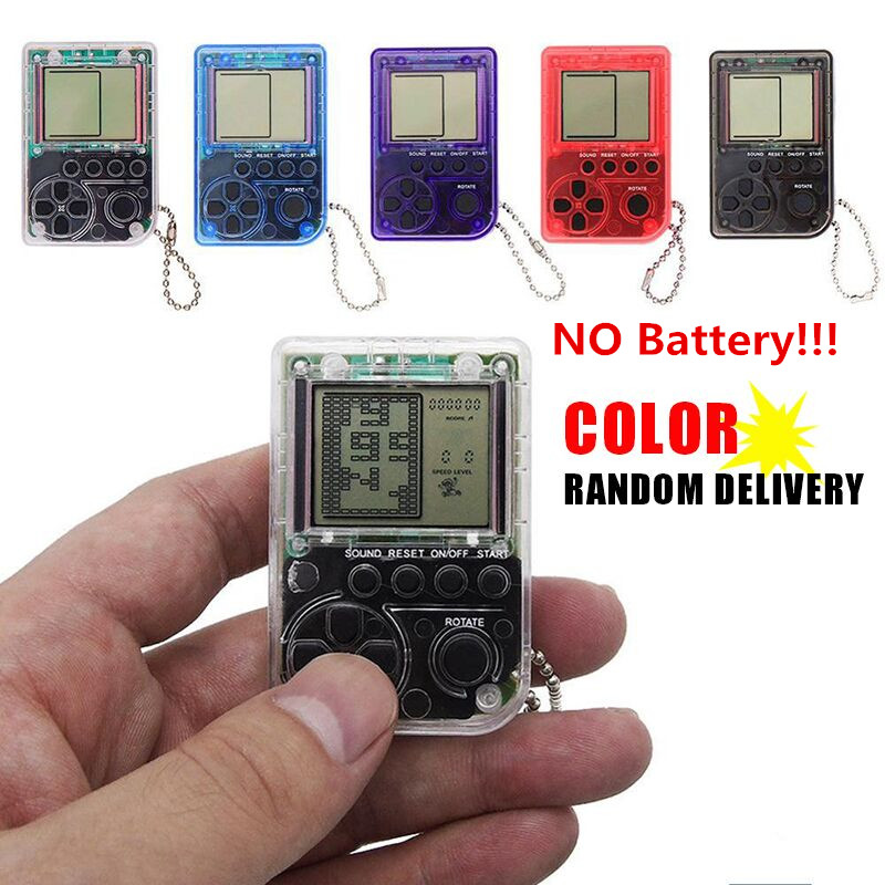 Mini Console Game Machine Children's Handheld Nostalgic Mini Game Console With Keychain Tetris Video Game Kids Children Gifts