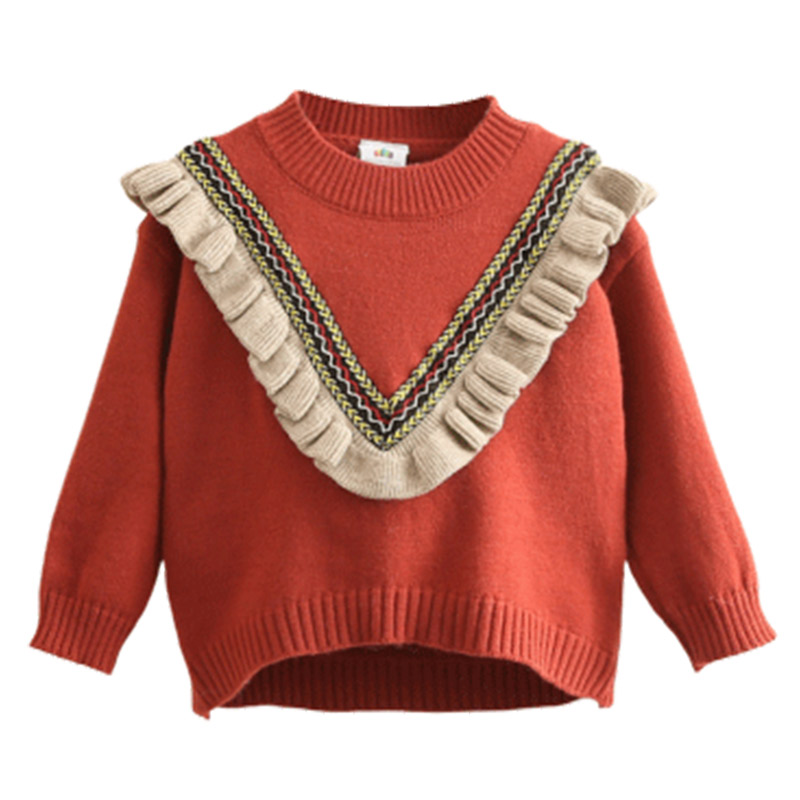 2020 Autumn Spring 2 3-10 12 Years Children'S Clothing O-Neck Knitted Pullover Cotton Ruffles Patchwork Kids Baby Girls Sweater 5