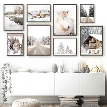 Pony Squirrel Highway Winter Forest House Wall Art Canvas Painting Nordic Posters And Prints Wall Pictures For Living Room Decor