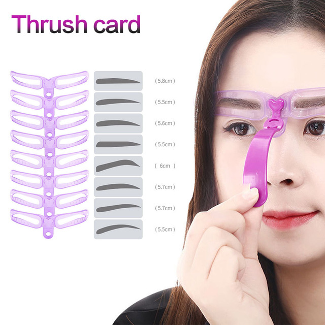 8pcs/set Eyebrow Stencil Reusable Eye brow Shaper Template	Grooming Card Eyebrow Styling Defining Makeup Tools Accessories kat d