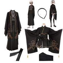 Game NieR Automata figure 2B 9S Fanart Kimono Suit Uniform Halloween Cosplay Costume for women men Adult Kimono