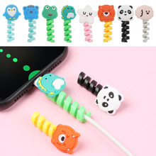 Cover Cable-Protector Protective-Case Spiral-Tube Usb-Charger Data-Line Silicone Cartoon