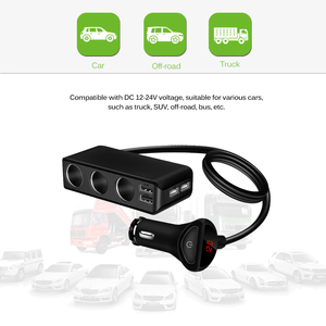 Image 5 - 4 USB Port Car Charger 6.8A USB Charger Voltmeter with 3 Way Car Cigarette Lighter Socket Splitter 120W Power Adapter Charger