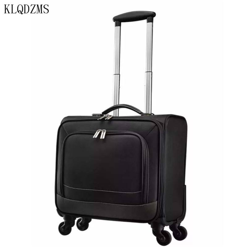 KLQDZMS Fashion Oxford Multifunction Men Business Rolling Luggage 16inch Carry Ons Trolley Travel Bag Women Suitcase