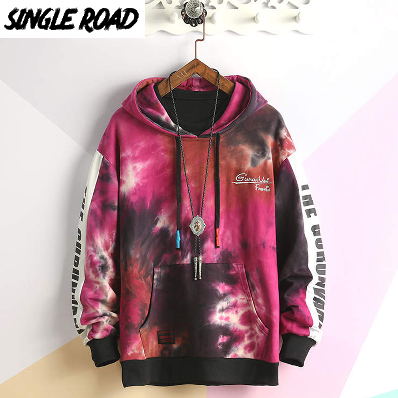 SingleRoad Men's Hoodies 2020 Oversized Tie Dye Patchwork Harajuku Japanese Streetwear Hip Hop Pink Hoodie Men Sweatshirt Male