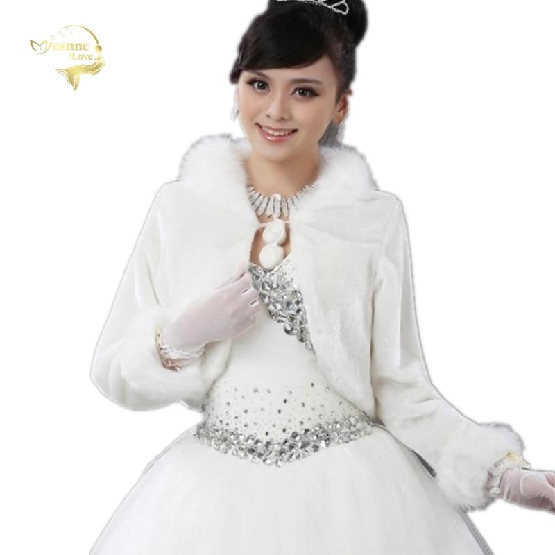 Wedding Bolero Outerwear Wedding Accessories Urged Coat Wrap Bride Formal Winter Cape Bride Fur Shawl Wedding Jacket Wrap OJ321