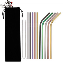 8pcs Straws + 2pcs Brushs Metal Drinking Straw Stainless Steel Reusable Straws For Beer Fruit Juice Drink(China)