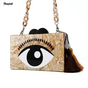 Акриловый клатч кофейного цвета с мультипликационным сглаза, сумочка с полимерной цепочкой и кисточкой, женские Брендовые вечерние клатчи,...