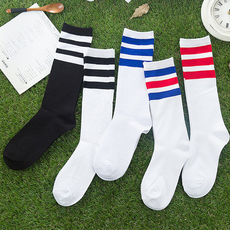 New Men/Women 3 Three Stripes Cotton Socks Retro Old School  Hiphop Skate Long Short  Meias  Harajuku White Black Winter Cool