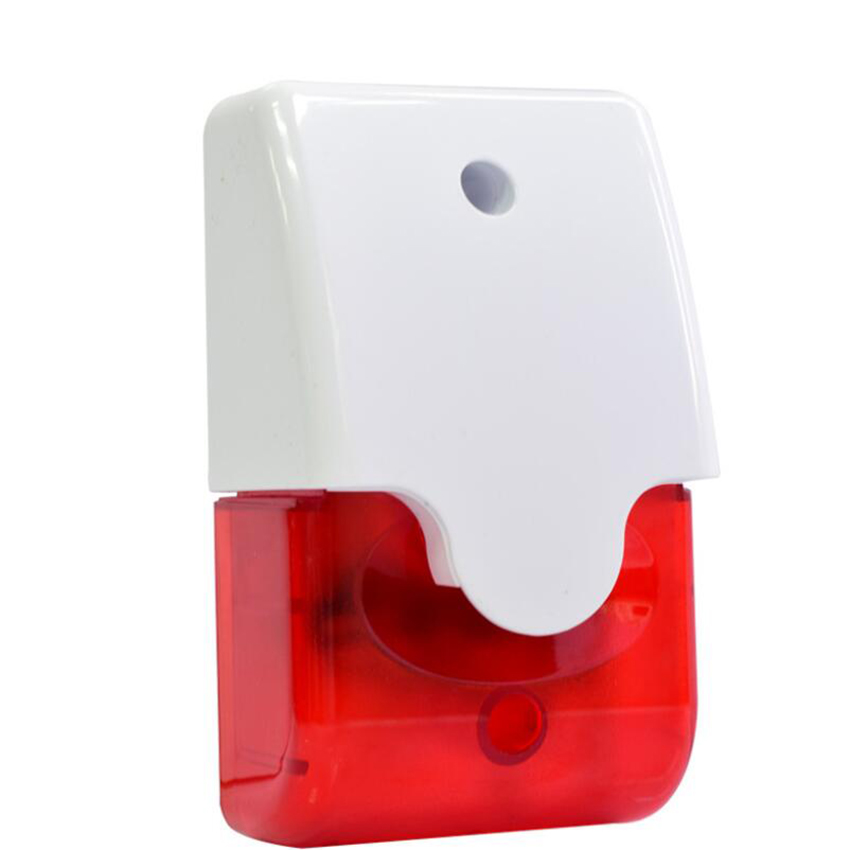 12V Wired Strobe Siren 103dB Red Light Sound Flash Buzzer Siren Home Outdoor Security Alarm System Security Indicator Light