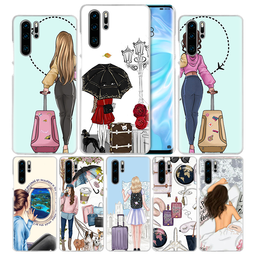 Vogue Girl Travel Case for Huawei Mate 30 20 10 P20 P30 Lite Pro P Smart Y9 Prime 2019 Honor 8A 8X 10i PC Phone Cover Bags