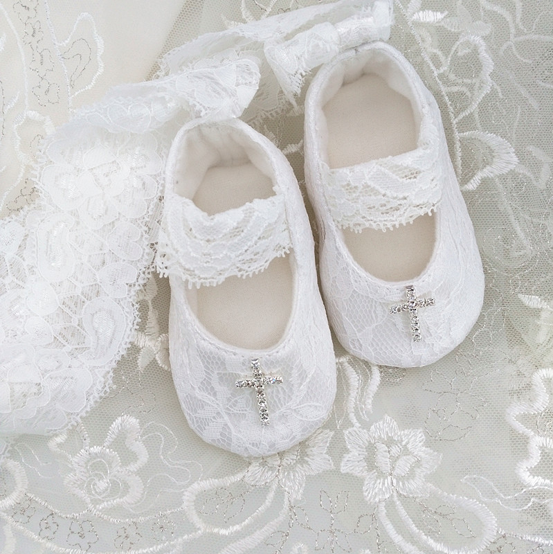 Customized High Quality White  Baby Christening Shoes, Lace Baby Baptism Shoes, Infant Toddler Princess Newborn Gift BB21