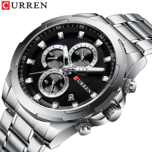 CURREN Mens Watch Creative Dial Design Wristwatches Stainless Steel Chronograph Calendar Waterproof Fashion Relogio Masculino