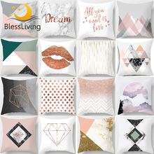 BlessLiving Nordic Pillow Case Marble Decorative Cover Geometric Pink White Throw Cushion for Car Sofa kussenhoes