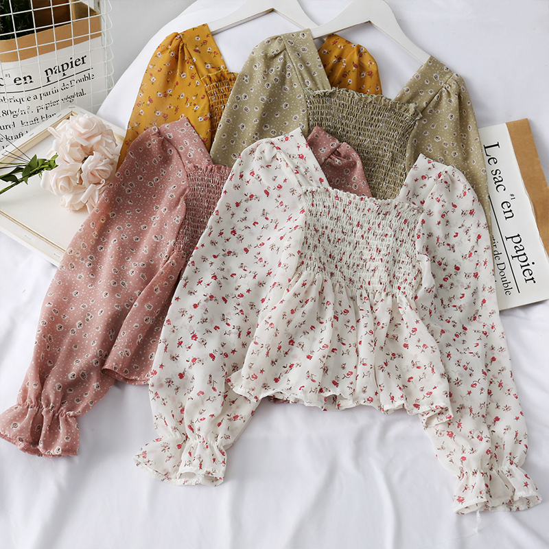 Ladies Floral Casual Blouses Ruffles Sweet Short Style Spring Women Tops And Blouses Cute Print Shirts Elasticity Blusas Mujer