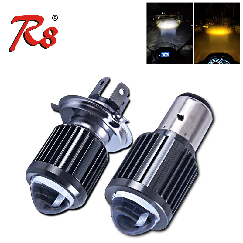 R8 Bi-LED Dual Color H4 LED HS1 BA20D Projector Lens White Yellow H6 Motorcycle Headlight Hi Lo Bulb Scooter E-Bike Fog Lamp