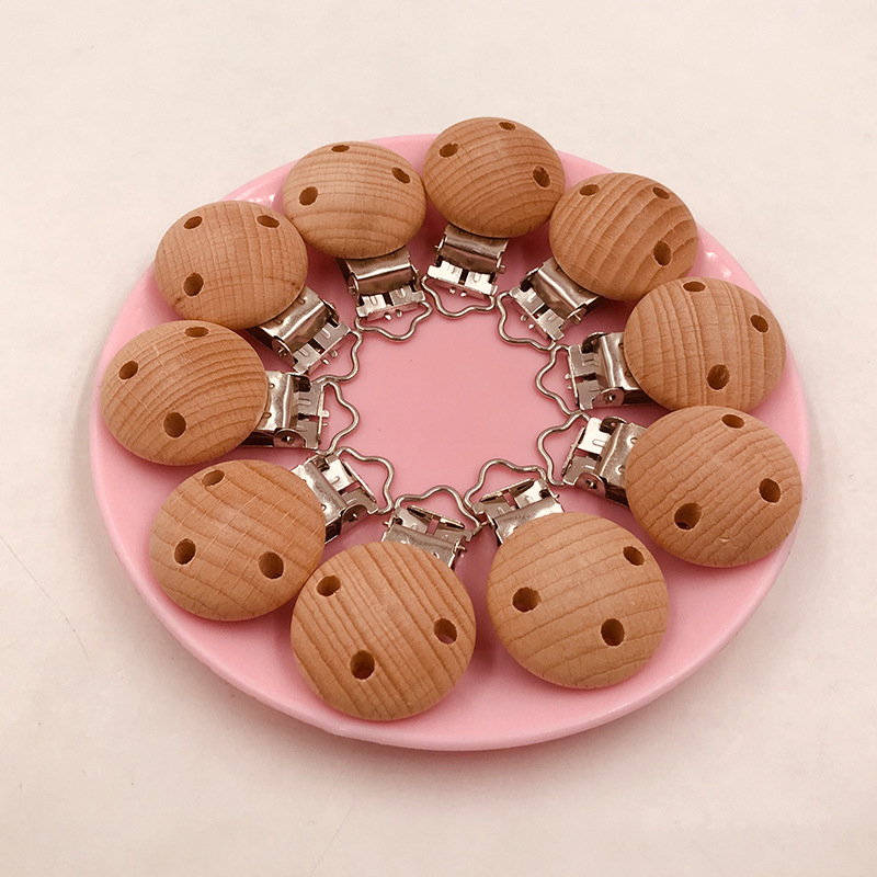 5pcs Wooden Teether Pacifier Soother Clip Maple Metal Clips Hacifier Holder Round Teether Pacifier Beads Holder For Nipples Toys