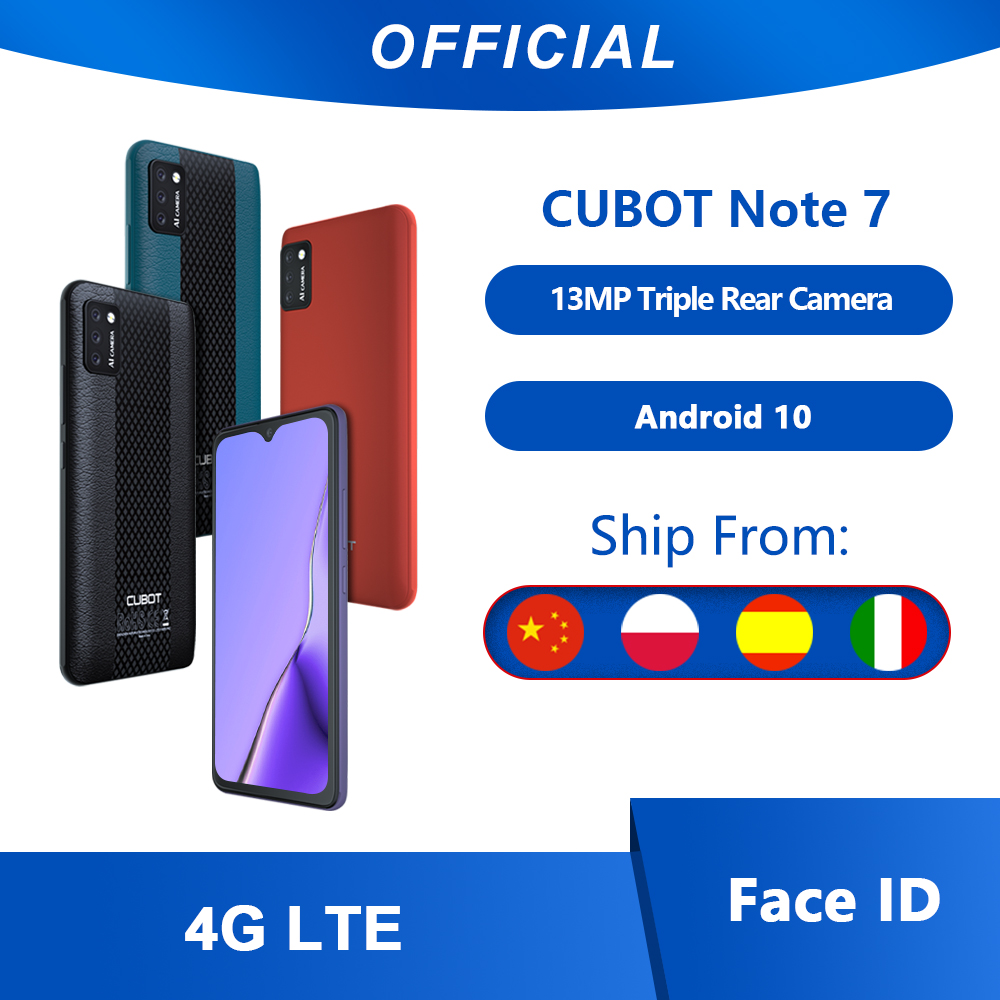 "Cubot Note 7 Teléfono Movil Libre Pantalla 5.5"" AI Triple Cámara Trasera 13MP identificación facial Face ID 4G LTE Smartphone 3100mAh Batería Google Android 10 Phone tarjeta SIM Dual 2GB+16GB"