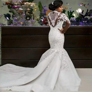Image 3 - יוקרה vestido דה noiva sereia חדשות high end תחרה קריסטל ארוך שרוולים שנהב סקסי בת ים שמלת כלה אפריקאית נגרר גלימה mar