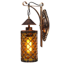 купить Artpad Chinese Style Vintage Indoor Bathroom Wall LED Light  Bedside Glass Kerosene Lamp Bar Corridor E27 Lantern Wall Lamps по цене 2353.49 рублей
