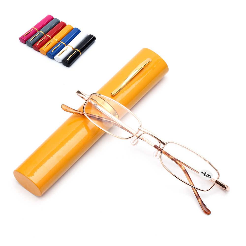 Gafas de lectura Unisex con bolígrafo, carcasa de tubo, portátiles, presbicia, estuche de Metal, bisagra de resorte, gafas, cuidado de la visión + 1,00 ~ + 4,00