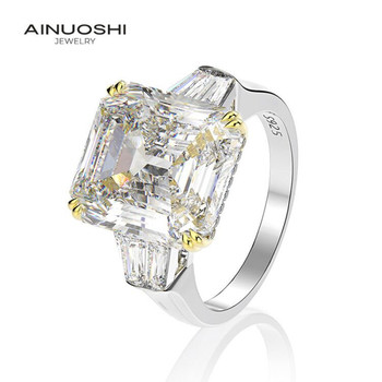 AINUOSHI 925 Sterling Silver 9.0 Carat Big Emeralded Cut 3 Stones Engagement Ring Simulated Diamond Wedding Silver Ring  Jewelry