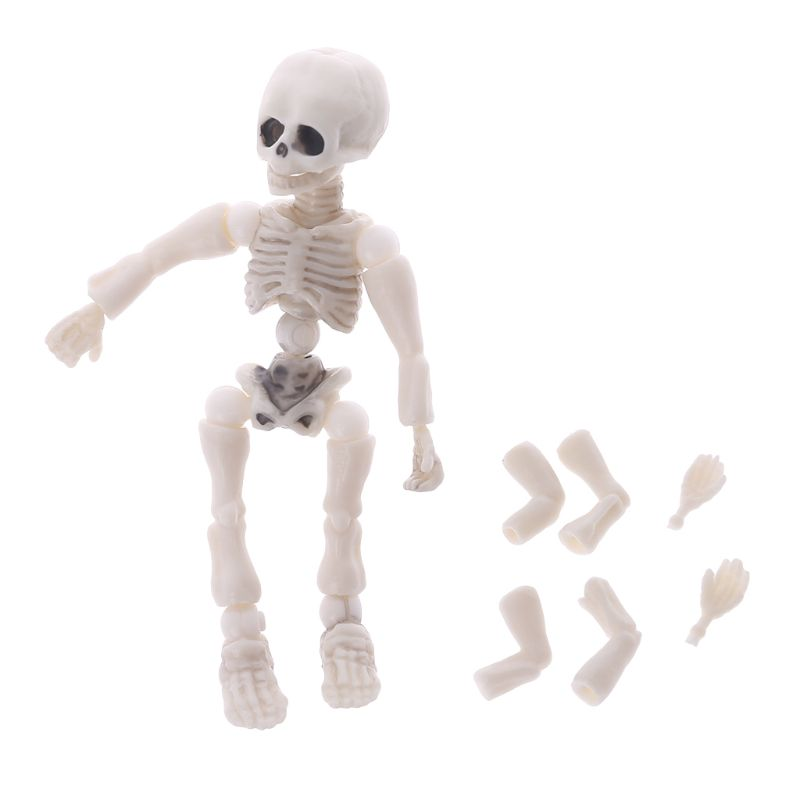 Movable Mr. Bones <font><b>Skeleton</b></font> Human Model <font><b>Pose</b></font> Skull Full Body Mini Figure Toy Halloween Desk Ornament 634F image