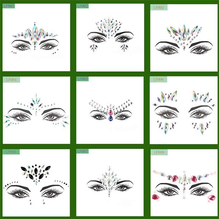 2  Acrylic Rhinestone Face Stickers Women Halloween Christmas Birthday Party Decor Environmentally Colorful Crystal Face Stickers