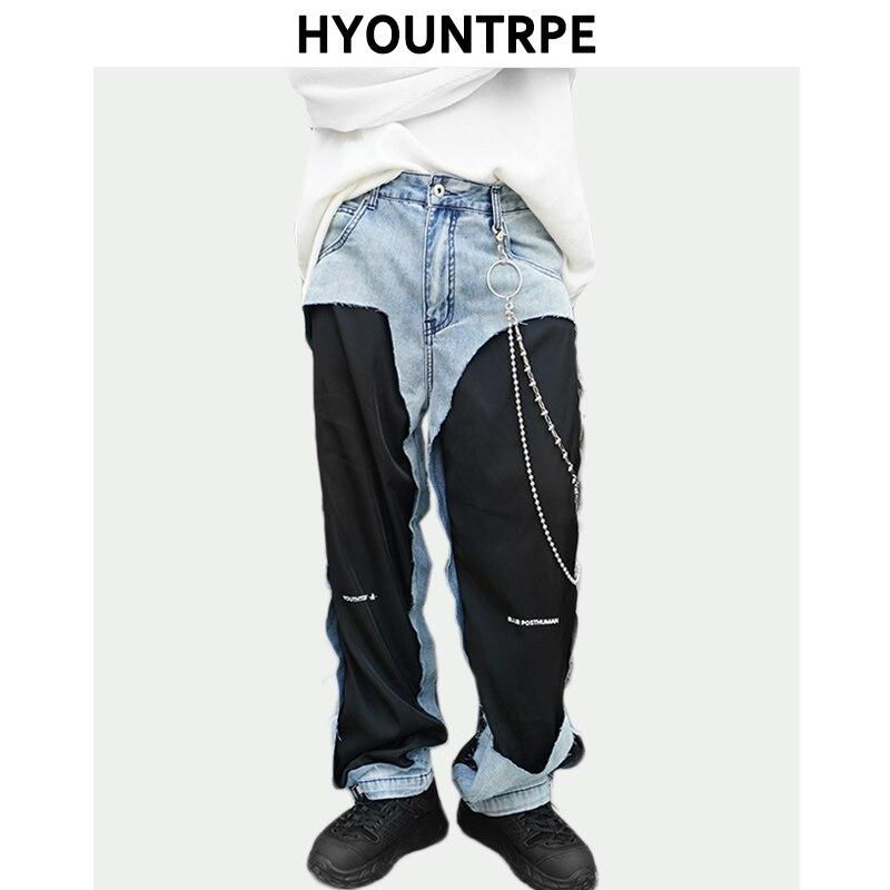 Destroyed Ripped Denim Jeans Patchwork  Hip Hop Loose Straight Long Pants Mens New Fashion Designer Streetwear Zipper Trouser