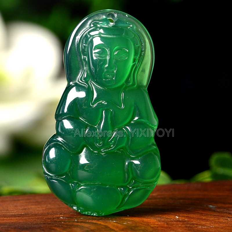 Hermoso trabajo a mano Natural ágata verde Jade tallado GuanYin Buddha pares bendición colgante de la suerte + collar de cuerda joyería fina